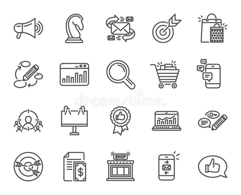 Ligne icônes de vente Stratégie, rétroaction illustration de vecteur