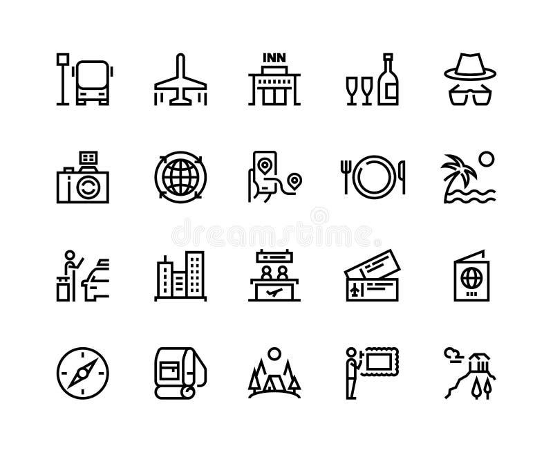 Ligne icônes de voyage Aventure plate de forêt de bagage d'avion d'été de tourisme de vacances, restaurants de musée et visite de illustration de vecteur