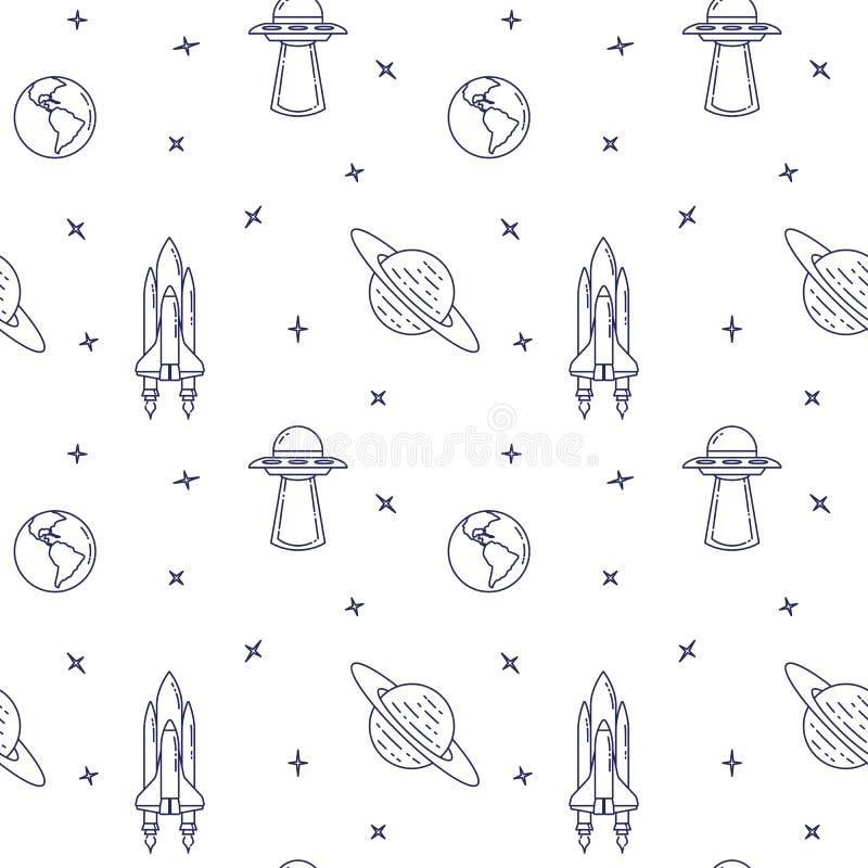 Ligne icônes de voyage dans l'espace Éléments d'UFO, comète, planète, satellite Configuration sans joint illustration stock