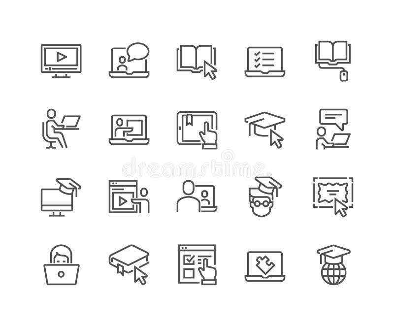 Ligne icônes en ligne d'éducation illustration de vecteur