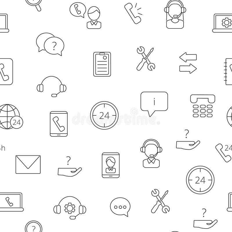 Ligne icônes modèle de centre d'assistance d'appel ou illustration de vecteur de fond illustration libre de droits