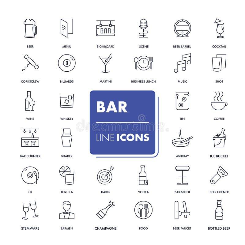 Ligne icônes réglées Bar illustration stock