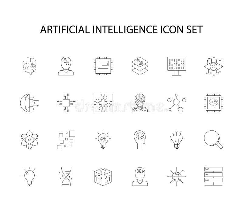 Ligne icônes réglées Paquet artificiel d'Intteligence illustration stock