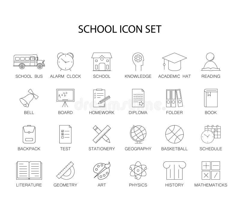 Ligne icônes réglées Paquet d'école illustration stock