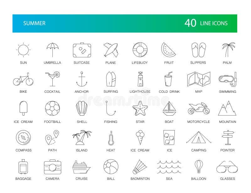 Ligne icônes réglées Paquet d'été illustration de vecteur