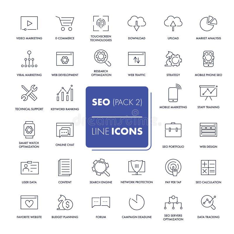 Ligne icônes réglées Seo illustration libre de droits
