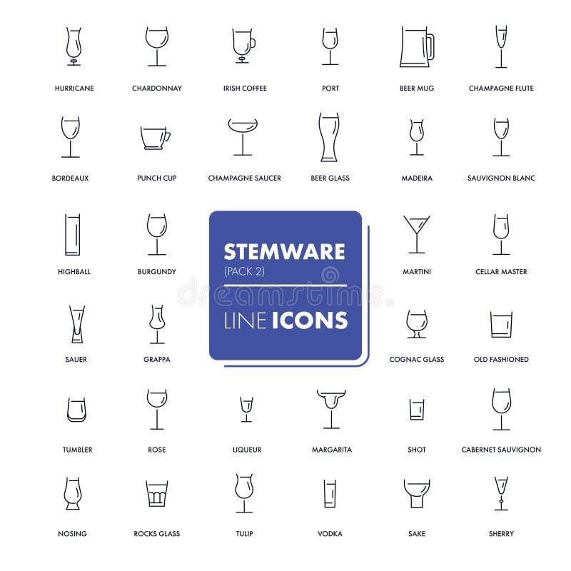 Ligne icônes réglées stemware illustration libre de droits