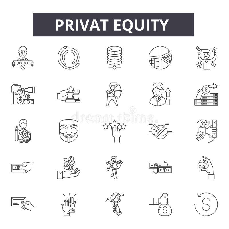 Ligne icônes, signes, ensemble de vecteur, concept de capitaux propres de Privat d'illustration d'ensemble illustration de vecteur
