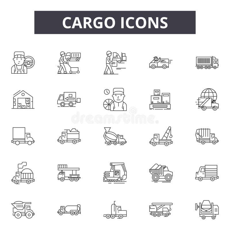 Ligne icônes, signes, ensemble de vecteur, concept de cargaison d'illustration d'ensemble illustration libre de droits
