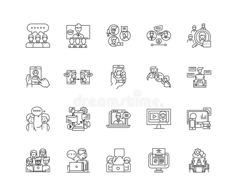 Ligne icônes, signes, ensemble de vecteur, concept de causerie d'illustration d'ensemble illustration libre de droits
