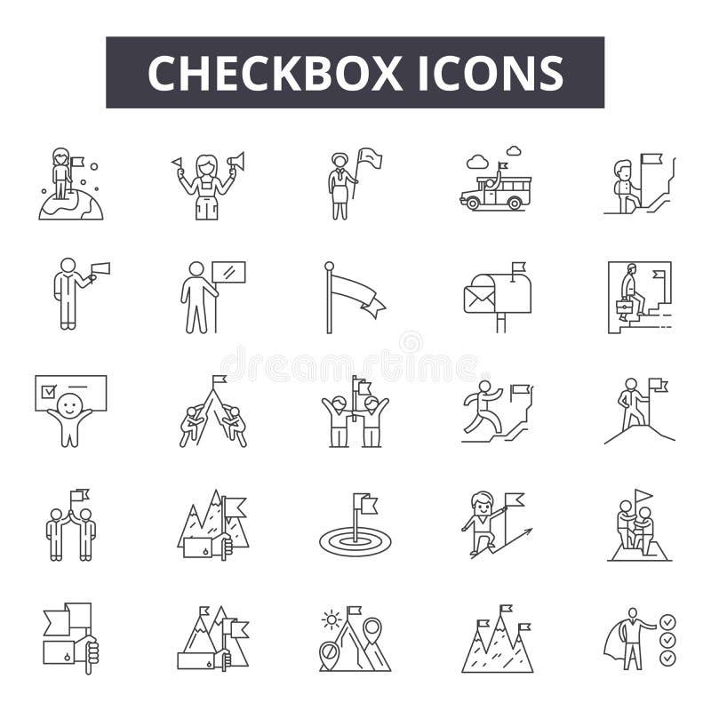 Ligne icônes, signes, ensemble de vecteur, concept de Checkbox d'illustration d'ensemble illustration de vecteur