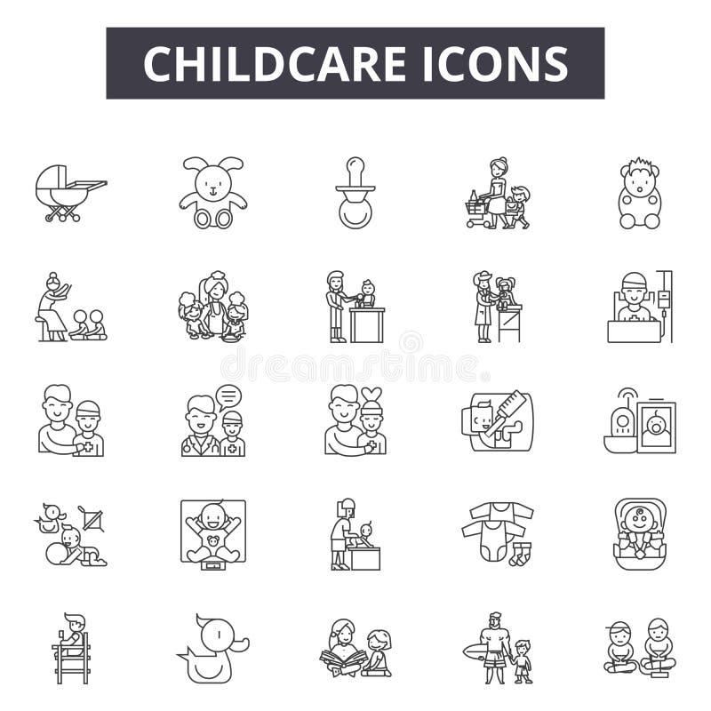 Ligne icônes, signes, ensemble de vecteur, concept de Chilcare d'illustration d'ensemble illustration libre de droits