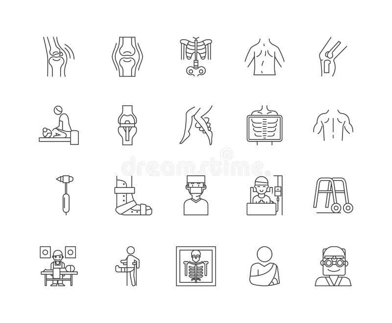 Ligne icônes, signes, ensemble de vecteur, concept de chiroprakteur d'illustration d'ensemble illustration libre de droits