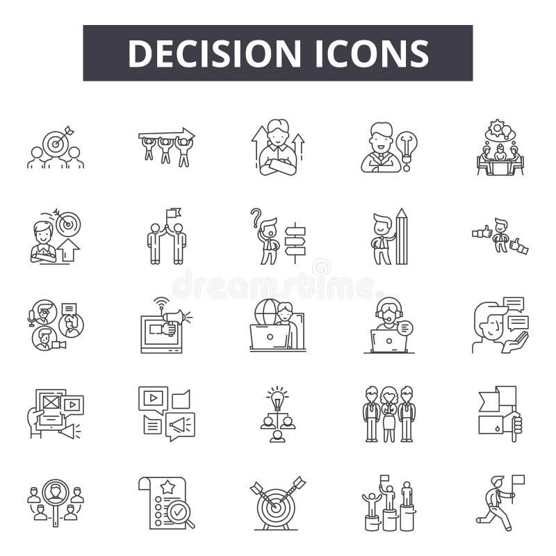 Ligne icônes, signes, ensemble de vecteur, concept de décision d'illustration d'ensemble illustration de vecteur