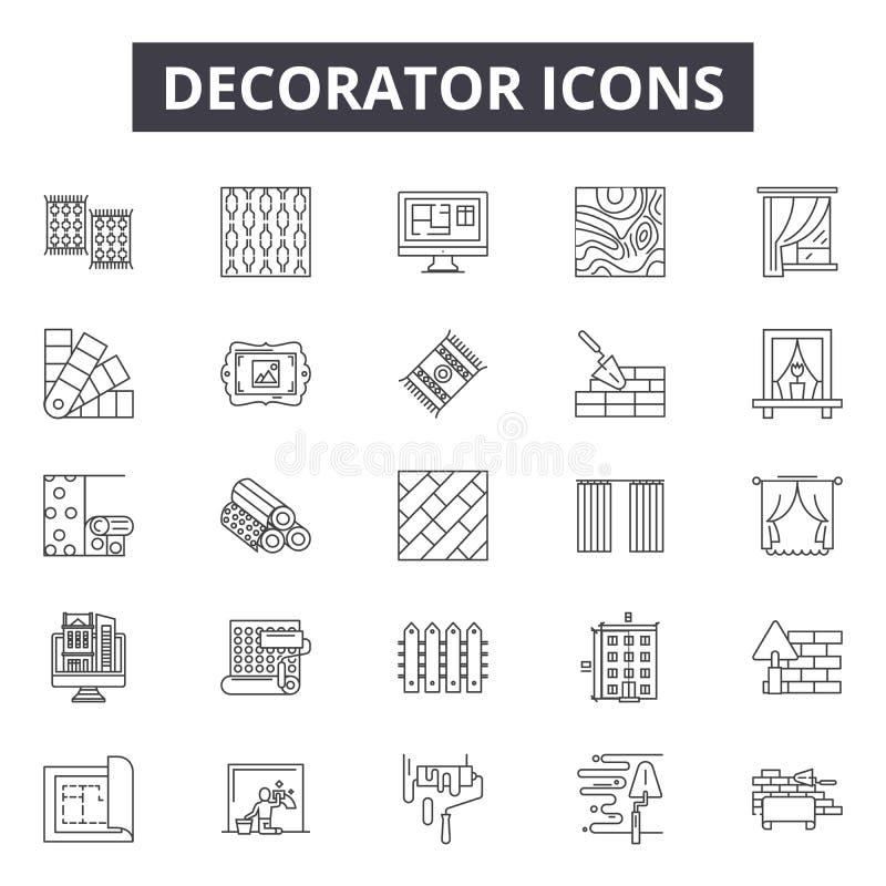 Ligne icônes, signes, ensemble de vecteur, concept de décorateur d'illustration d'ensemble illustration stock
