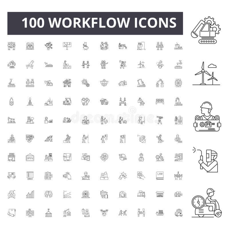 Ligne icônes, signes, ensemble de vecteur, concept de déroulement des opérations d'illustration d'ensemble images stock
