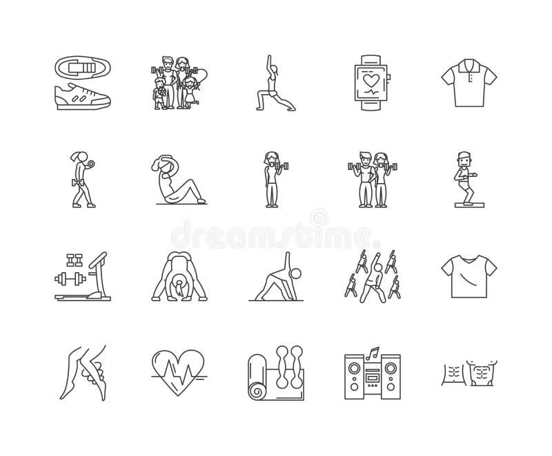 Ligne icônes, signes, ensemble de vecteur, concept d'aérobic d'illustration d'ensemble illustration libre de droits