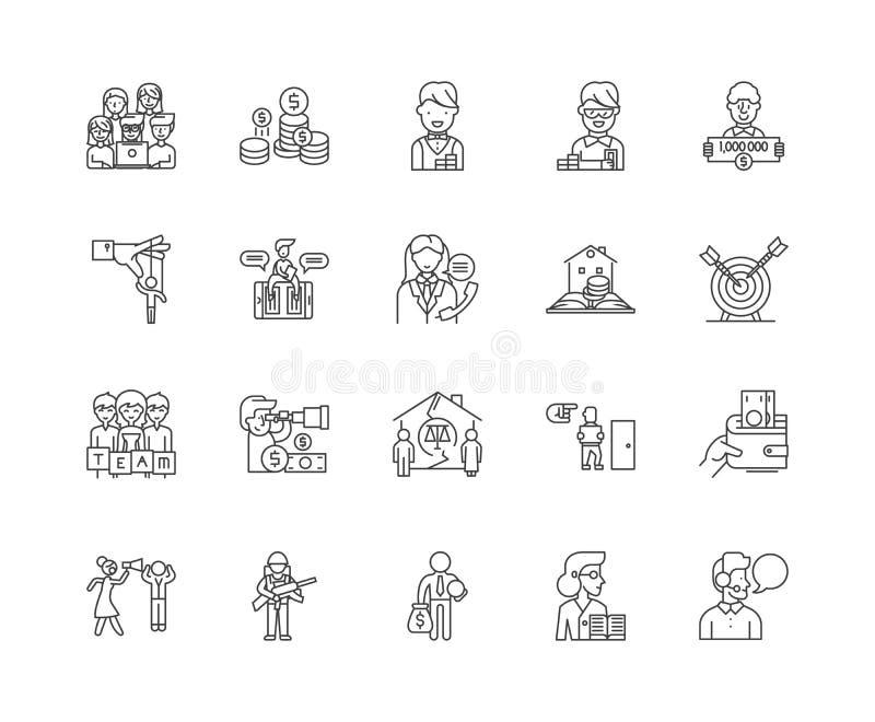 Ligne icônes, signes, ensemble de vecteur, concept d'agence de recouvrement d'illustration d'ensemble illustration de vecteur