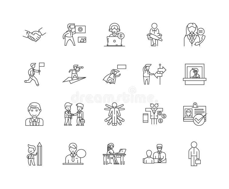Ligne icônes, signes, ensemble de vecteur, concept d'agent d'illustration d'ensemble illustration stock