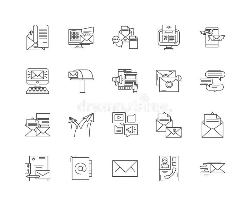 Ligne icônes, signes, ensemble de vecteur, concept d'email d'illustration d'ensemble illustration stock