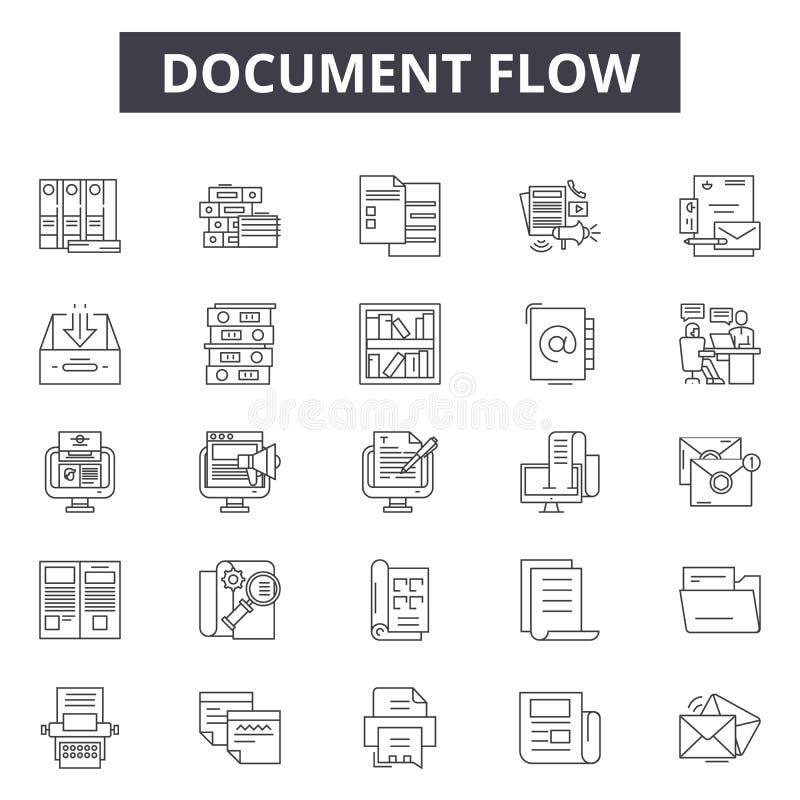 Ligne icônes, signes, ensemble de vecteur, concept de flux des documents d'illustration d'ensemble illustration de vecteur