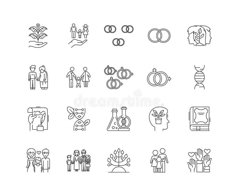 Ligne icônes, signes, ensemble de vecteur, concept de généalogiste d'illustration d'ensemble illustration stock