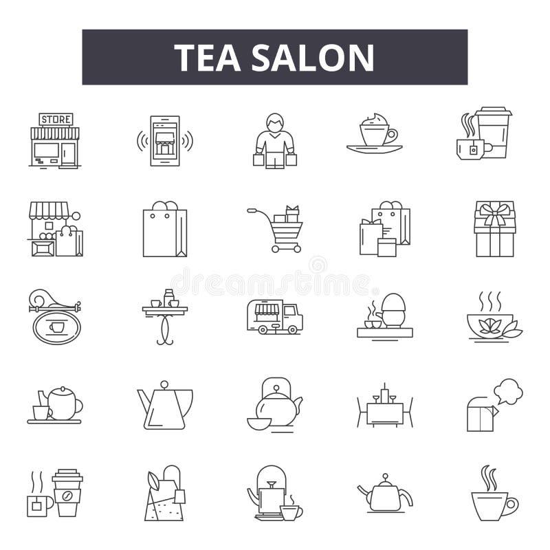 Ligne icônes, signes, ensemble de vecteur, concept linéaire, illustration de salon de thé d'ensemble illustration libre de droits