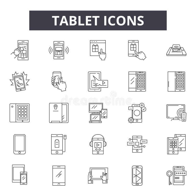 Ligne icônes, signes, ensemble de vecteur, concept linéaire, illustration de Tablette d'ensemble illustration de vecteur