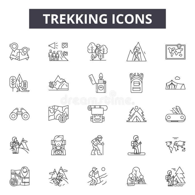 Ligne icônes, signes, ensemble de vecteur, concept linéaire, illustration de trekking d'ensemble illustration de vecteur