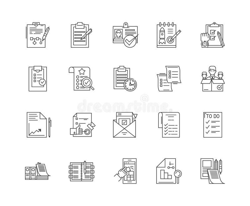 Ligne icônes, signes, ensemble de vecteur, concept de liste de contrôle d'illustration d'ensemble illustration de vecteur
