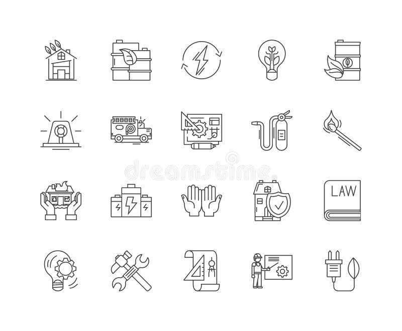 Ligne icônes, signes, ensemble de vecteur, concept de lutte anti-incendie d'illustration d'ensemble illustration stock