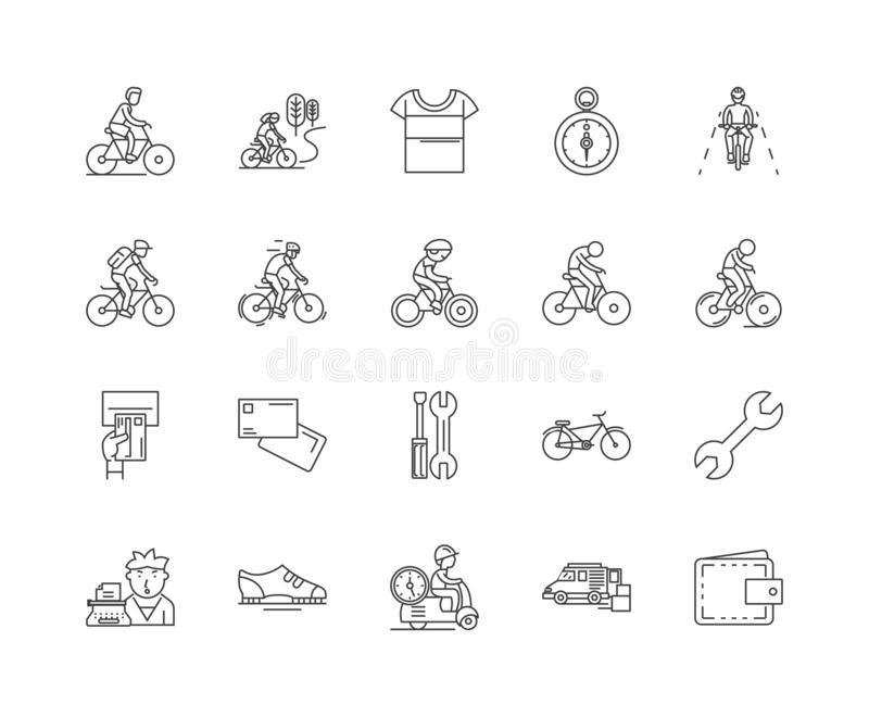 Ligne icônes, signes, ensemble de vecteur, concept de magasin de bicyclette d'illustration d'ensemble illustration stock