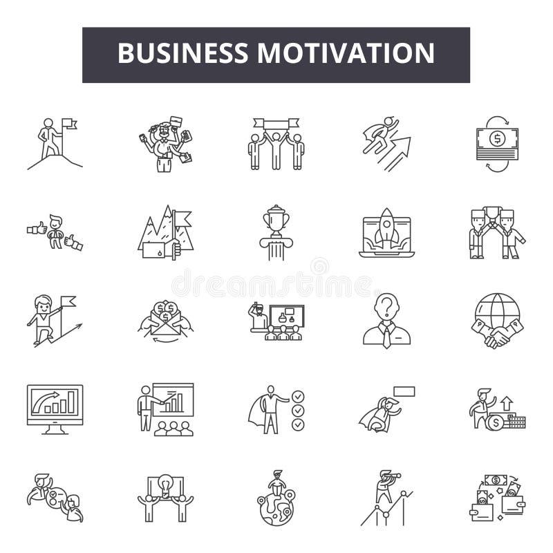 Ligne icônes, signes, ensemble de vecteur, concept de motivation d'affaires d'illustration d'ensemble illustration libre de droits