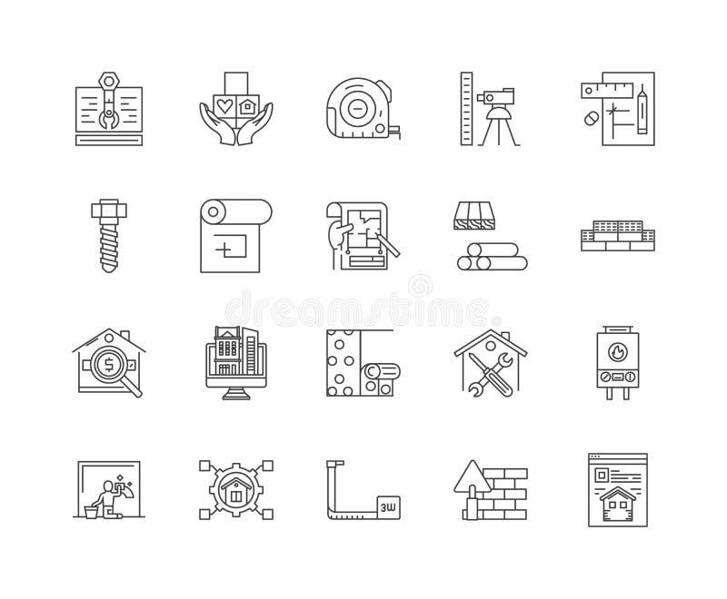 Ligne icônes, signes, ensemble de vecteur, concept de planification d'illustration d'ensemble illustration libre de droits