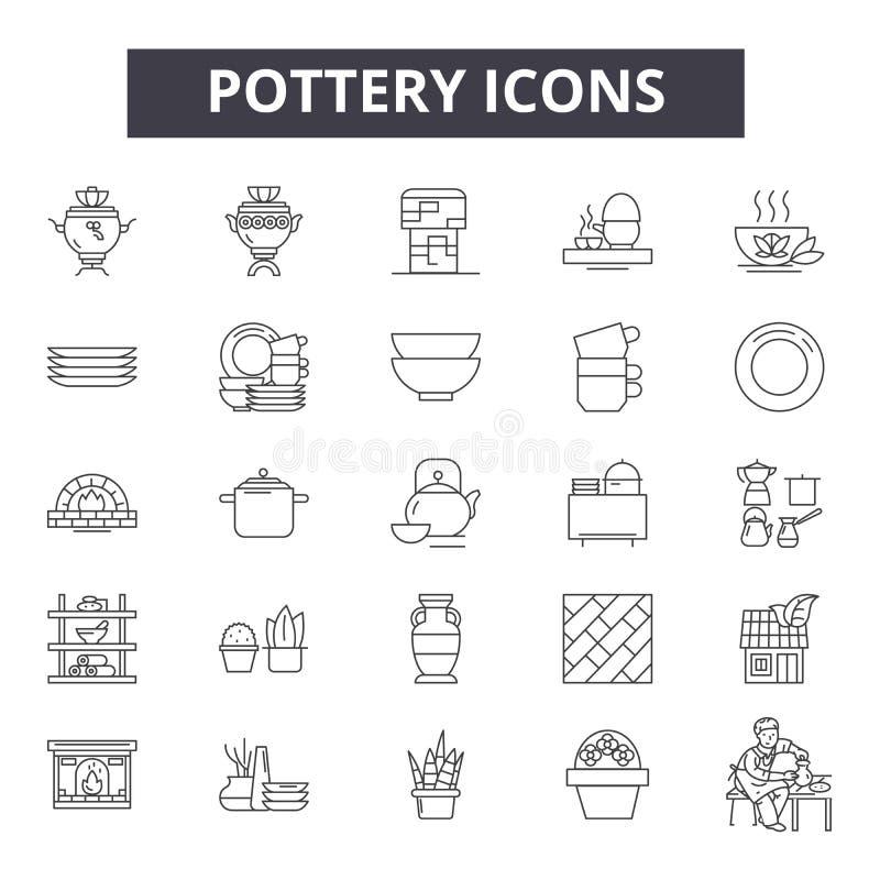 Ligne icônes, signes, ensemble de vecteur, concept de poterie d'illustration d'ensemble illustration libre de droits