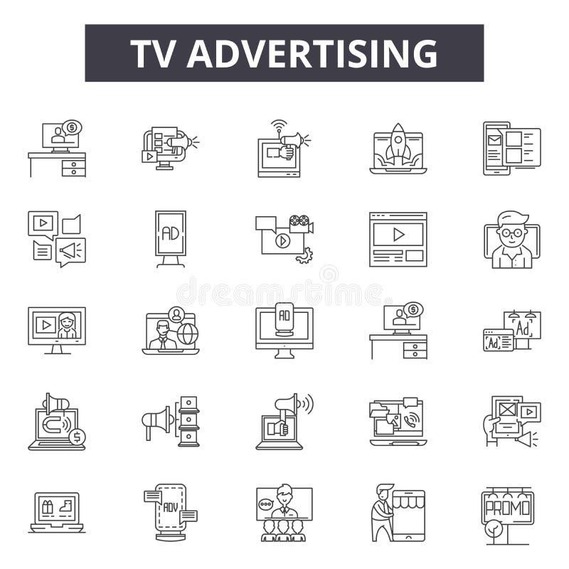 Ligne icônes, signes, ensemble de vecteur, concept de publicité à la TV d'illustration d'ensemble illustration de vecteur