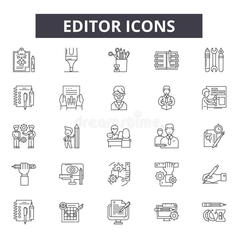 Ligne icônes, signes, ensemble de vecteur, concept de rédacteur d'illustration d'ensemble illustration libre de droits