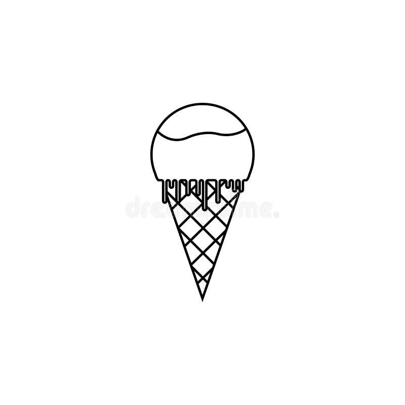 Ligne icône, éléments de crème glacée de boissons de nourriture illustration stock