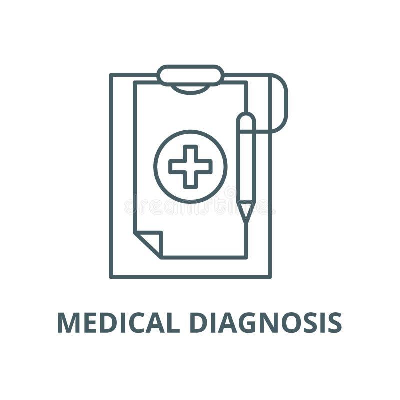 Ligne ic?ne, concept lin?aire, signe d'ensemble, symbole de vecteur de diagnostic m?dical illustration de vecteur