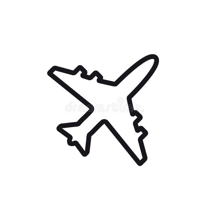 Ligne ic?ne d'avion Conception plate d'illustration de vecteur de symbole et de signe illustration libre de droits