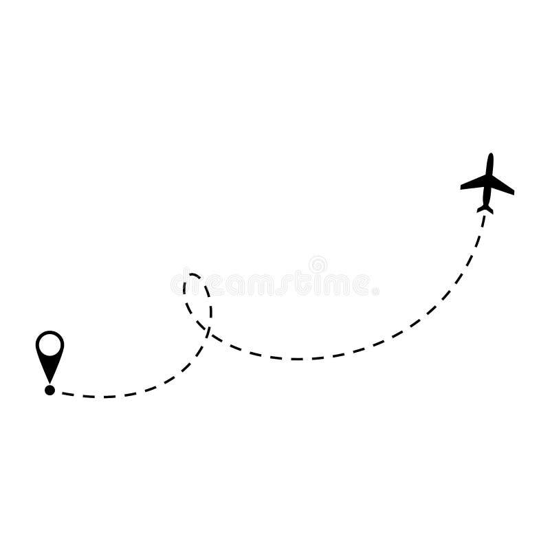 Ligne ic?ne d'avion de vecteur de chemin d'itin?raire de vol d'avion d'air avec le point et la ligne trace de d?but de tiret illustration de vecteur