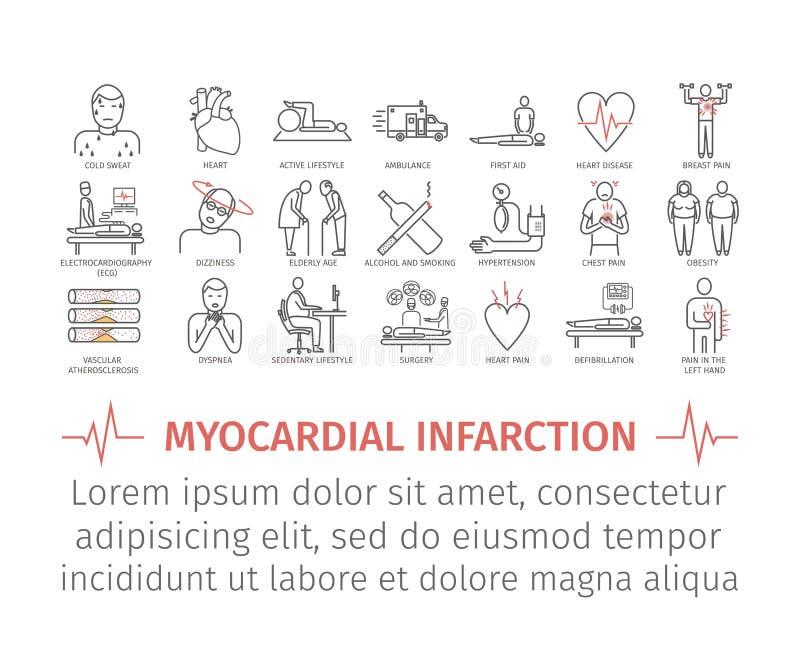 Ligne icône d'infarctus du myocarde Symptômes, traitement illustration libre de droits