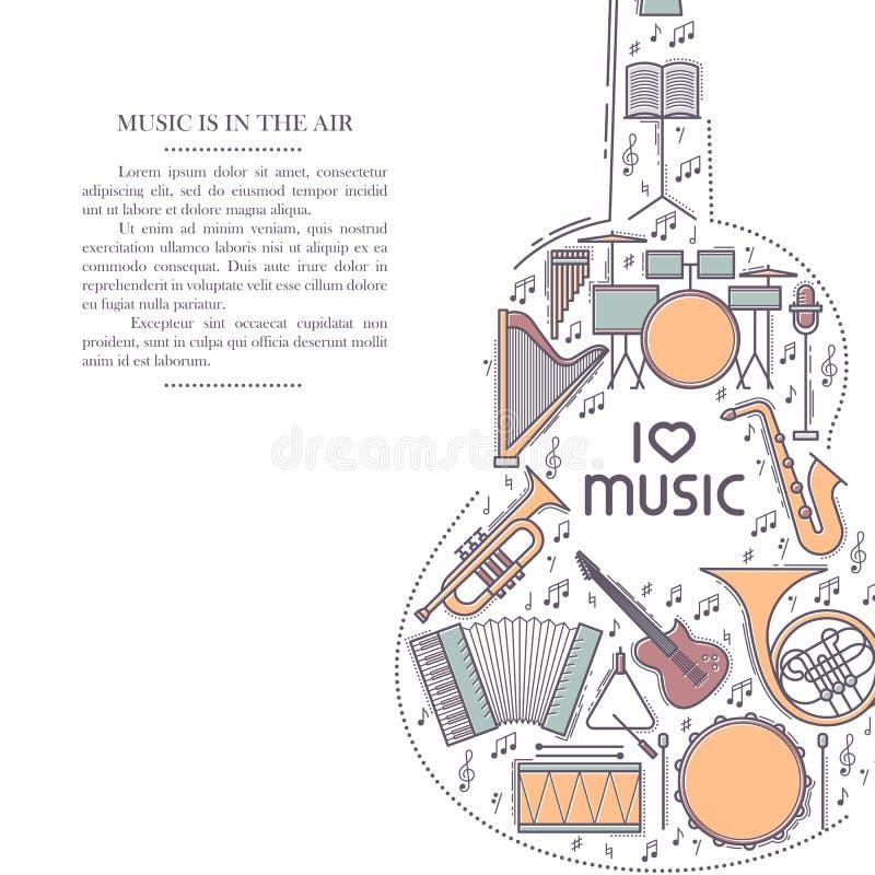 Ligne icône d'instrument de musique rétro dans la forme de guitare Brochure musicale classique Carte décorative de certificat de  illustration stock