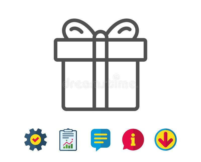Ligne icône de boîte-cadeau Signe actuel illustration stock