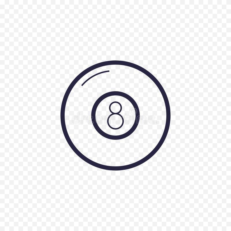 Ligne icône de boule de la piscine huit Signes linéaires minces de jeu de billard Décrivez le concept simple de boule magique pou illustration stock