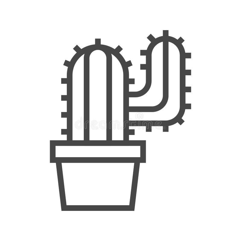 Ligne icône de cactus illustration libre de droits