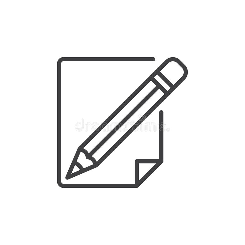 Ligne icône de crayon et de papier illustration libre de droits
