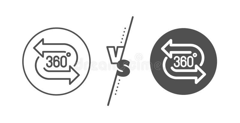 ligne ic?ne de 360 degr?s Signe de simulation de technologie de VR Vue panoramique Vecteur illustration libre de droits