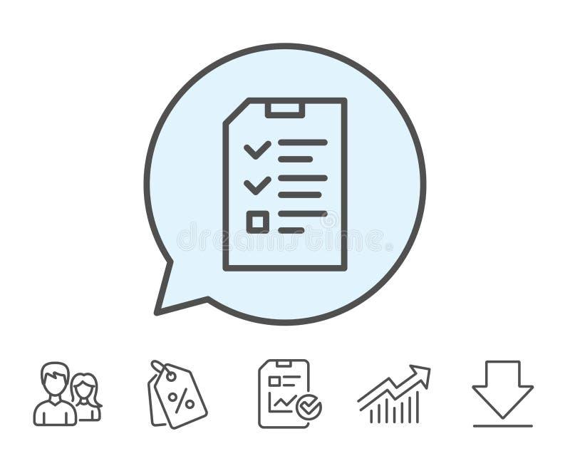 Ligne icône de document de liste de contrôle Signe de dossier illustration de vecteur