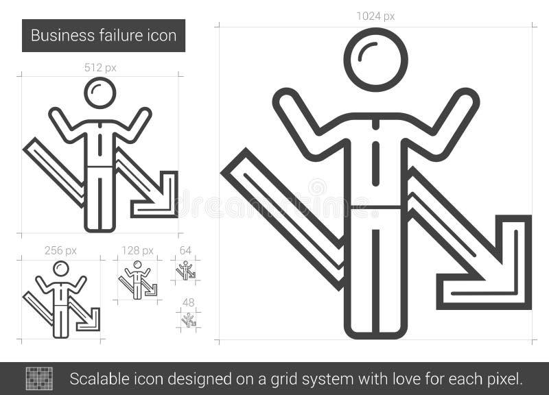 Ligne icône de faillite commerciale illustration libre de droits